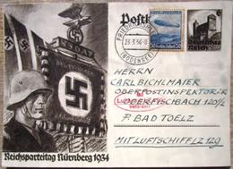 Ganzsache Reichsparteitag Nürnberg 1934 Zusatzfrankatur - Zeppelinpost Roter Bestätigungsstempel LZ 129 - Deutschland