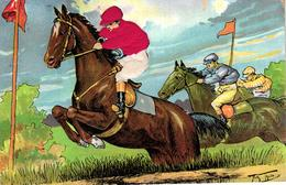 Pferde, Pferderennen, AK Mit Seidenapplikation, Sign. Arthur Thiele, 1910, In Den USA Hergestellt - Thiele, Arthur
