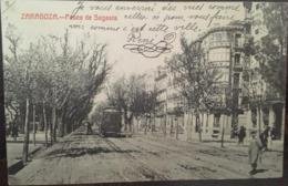 Cpa, ZARAGOZA, Fototipia Castaneira Y Alvarez, Paseo De Sagasta, Animacion, Animée, Tramway, Tranvia, 1911, Espagne - Zaragoza