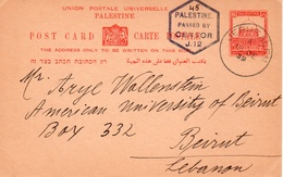 Palestine-Lebanon / Liban 1939 WWII Censored Postal Card, Beiruth American University. - Palestine