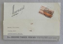 """Cartolina Postale Pubblicitaria """"Ruggero Tarozzi"""" Vini, Alcole, Liquori Pescara Per Castelfranco Emilia - 05/05/1955 - 6. 1946-.. Repubblica"""