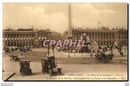 Paris CPA Place De La Concorde Vue Sur Le Ministere De La Marine L&#39automobile Club De France Et L - Distrito: 01