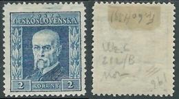 1925 CECOSLOVACCHIA TOMAS GARRIGUE MASARYK 2 H FILIGRANA VERTICALE MH * - RC17-9 - Tchécoslovaquie