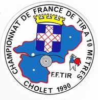 Autocollant Publicitaire - Tir Sportif - Armes - FFTir - Championnat De France CHOLET 1990 - Aufkleber