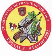 Autocollant Publicitaire - Tir Sportif - Armes - FFTir - Championnat De France EPINAL 1992 - Stickers