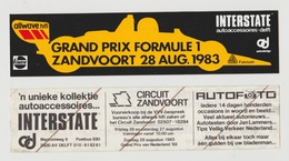 Sticker: Formula 1 - Formule 1 Grand Prix Circuit Zandvoort (NL) 1983 Fasson Allwave Hifi Interstate Delft Castrol - Automobile - F1
