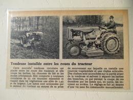 USA -  Tracteur Avec Tondeuse Circulaire   (tractor Mower)  - Coupure De Presse De 1950 - Tractors