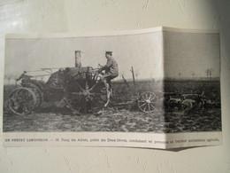 Deux Sèvres -  Tracteur Agricole Conduit Par Le Préfet M Rang Des Adrest  - Coupure De Presse De 1917 - Tracteurs