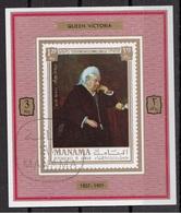 "Manama 1971 Mi. 744 Kings & Queens ""Queen Victoria Aged 80"" Quadro Dipinto Da Anonimo Paintings Sheet CTO Deluxe Imperf. - Manama"