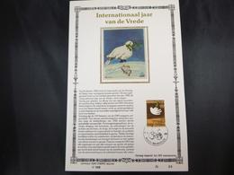 "BELG.1986 2202 FDC Filatelic Card Zijde NL (Bruxs)  : "" Jaar V/d Vrede / Année Internationale De La Paix "" - 1981-90"