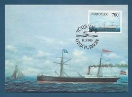 "Dänemark / Färöer 1983  Mi.Nr. 81 , ""Thyra"" - Old Ships On The Faroe Run - Maximum Card - First Day  21.2.1983 - Schiffe"
