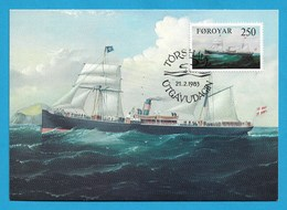 "Dänemark / Färöer 1983  Mi.Nr. 80 , ""Laura"" - Old Ships On The Faroe Run - Maximum Card - First Day  21.2.1983 - Schiffe"