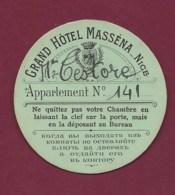 280320C - étiquette GRAND HOTEL MASSENA à NICE Appartement 141 - Etiquettes D'hotels