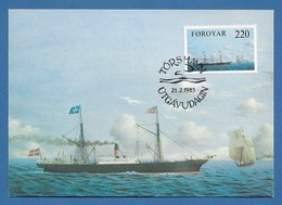"Dänemark / Färöer 1983  Mi.Nr. 79 , ""Arcturus"" - Old Ships On The Faroe Run - Maximum Card - First Day  21.2.1983 - Schiffe"