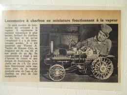 Kansas City - M Warren Et Son Tracteur à Charbon Miniature  Echelle 1/6 - Coal Tractor  - Coupure De Presse De 1948 - Tractors