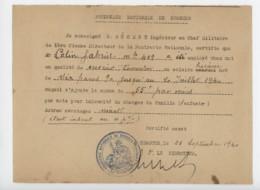 ° WW2 ° 23 Septembre 1940 ° POUDRERIE NATIONALE DE SORGUES ° Certificat De Travail ° Cachet De Le Poudrerie ° - Documents Historiques