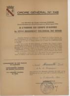 ° 17è Régiment Colonial Du Génie - Ordre Général N°1148 Par Le Général De Corps D'armée Koenig, Commandant En Chef ..... - Documents Historiques