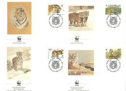 Russia 1993  WWF, World Wide Fund For Nature, Siberian Tiger (Panthera Tigris Altaica) Mi 343-346, FDC - 1992-.... Fédération