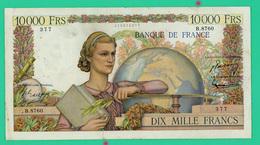 10 000 Francs - Génie  Français - N° B.8760/377 - OZ.2-4-1953.OZ - TB+  - 2 Coupures (point Rouge) - 1871-1952 Anciens Francs Circulés Au XXème