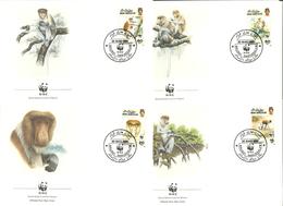 Brunei 1991  WWF, World Wide Fund For Nature, Proboscis Monkey (Nasalis Larvatus) Mi 430-433, FDC - Brunei (1984-...)
