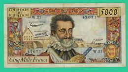 5000 Francs - Henri IV - France - N° W.21/47071 -  A.3-3-10-1957.A. -  - TB+  - - 1871-1952 Circulated During XXth