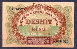 Latvia - 1919  -.10 Rubli  ..P4f....XF - Lettonie