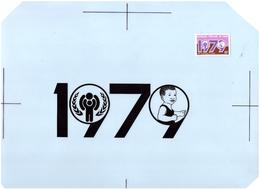CONGO DEUX MAQUETTES ORIGINALES DE G. BOZOLO ENCRE DE CHINE POUR IMPRESSION OFFSET DES N°540/41 ANNEE DE L'ENFANCE 1979 - Congo - Brazzaville