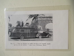 """USA Floride - Ensemble Routier Ford Cab V8 Semi Remorque Camping """" Trailer De Luxe""""  - Coupure De Presse De 1937 - Camping"""