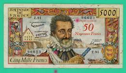 5000 Francs - Surchargé NF En Rouge - Henri IV - France - N° Z.91 / 96623 -  L.30-10-1958.L.  - TB+  - 1 Trou Et Coupure - 1955-1959 Overprinted With ''Nouveaux Francs''