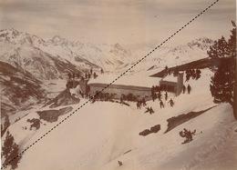 Grande Photo 1903 Jausiers Fort De Tournoux Ubaye Hautes Alpes Chasseurs Alpins - Guerra, Militari