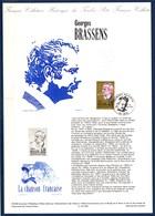 = Georges Brassens La Chanson Française Collection Historique De France 1er Jour Sète 16.6.90 N°2654 - Documenten Van De Post