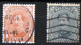 Albert 1er N° 134 Et 136 état Cachet Mons - Oblitérés