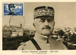 Maréchal FRANCHET D'ESPEREY Né à Mostaganem Algérie Timbre Cachet Premier Jour Détail Dos - Characters