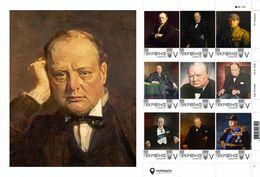 Ukraine 2020, England Politician Writer Winston Churchill, Sheetlet Of 9v - Ucraina