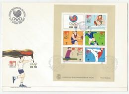 Macau Macao Portugal China Souvenir Sheet On FDC 1988 Olympic Games - Macau