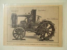 Tracteur Agricole Renault Avec Gazogène Au Charbon De Bois - Coupure De Presse De 1928 - Tractors