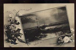 C2546 AUGURALI CARI SALUTI CON PANORAMA SUL MARE VG 1914 SALERNO FORMATO PICCOLO - Fêtes - Voeux