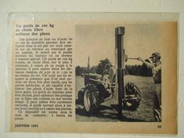 USA -Tracteur Américain Enfonce Pieux (Pious Driving Tractor)  - Coupure De Presse De 1954 - Tractors