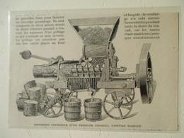 Remorque Vendange Pressoir De Tracteur  (avec Fouloir Egouttoir)   - Coupure De Presse De 1919 - Tractors