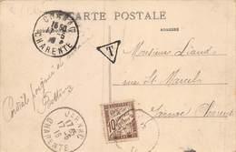 20-4664 : CARTE POSTALE TAXEE A 10 CENTIMES. CACHET DE COGNAC ET JARNAC. CHARENTE. 17 JUIN 1916 - Lettres Taxées