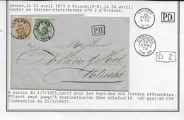 Cob 30 +33   1873 ANVERS ANTWERPEN  UTRECHT Port Double Dubbel Port - 1869-1883 Léopold II