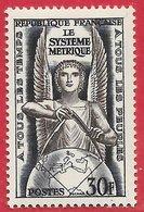 France N°998 30F Bleu-noir & Brun-lilas 1954 ** - France