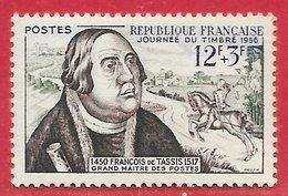 France N°1054 Journée Du Timbre Courrier Cavalier 12F+3F Vert, Outremer & Brun-lilas 1956 ** - France