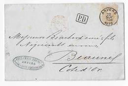 Cob 33   1873 ANVERS  ( Superbe Frappe )  ANTWERPEN ( Prachtig Gestempeld ) - 1869-1883 Léopold II