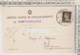 Portogruaro Venezia  Ufficio Unico Di  Collocamento 1937 Con Timbro Rara - Venezia (Venice)