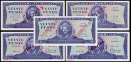 CUBA 20 PESOS TODOS LOS TIPOS DE SPECIMEN - Cuba