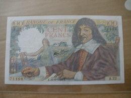 BILLET DE 100F DESCARTES DU 15/05/1942 FAYETTE 27/1 - 1871-1952 Anciens Francs Circulés Au XXème