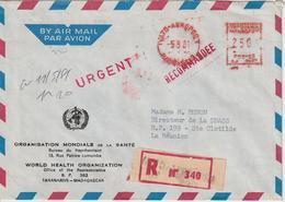 Madagascar EMA 1981 Sur Lettre Recommandée OMS Pour La Réunion - Madagascar (1960-...)