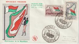Madagascar FDC 1959 Proclamation République 338-39 - Madagascar (1960-...)