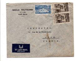 SYRIE AFFRANCHISSEMENT COMPOSE SUR LETTRE A EN TETE DE ALEP POUR LA FRANCE 1947 - Syrie